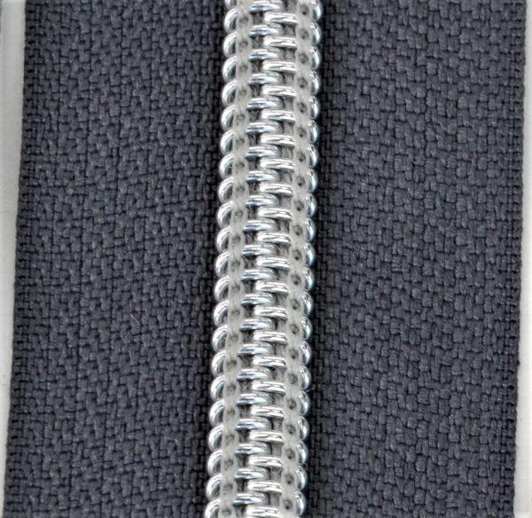 Kunststoff-Reißverschluss silber metallisiert anthrazit