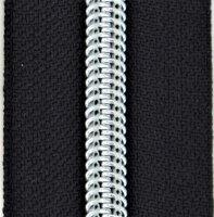 Kunststoff-Reißverschluss silber metallisiert schwarz