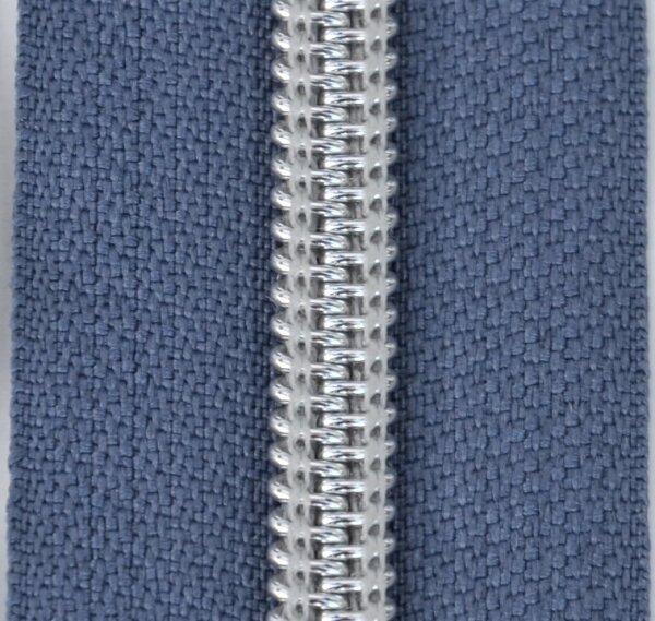 Kunststoff-Reißverschluss silber metallisiert graublau