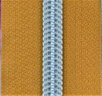 Kunststoff-Reißverschluss silber metallisiert senf