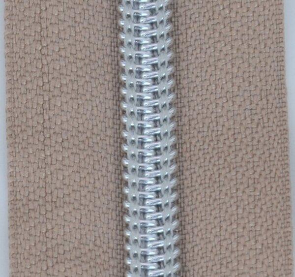 Kunststoff-Reißverschluss silber metallisiert camel